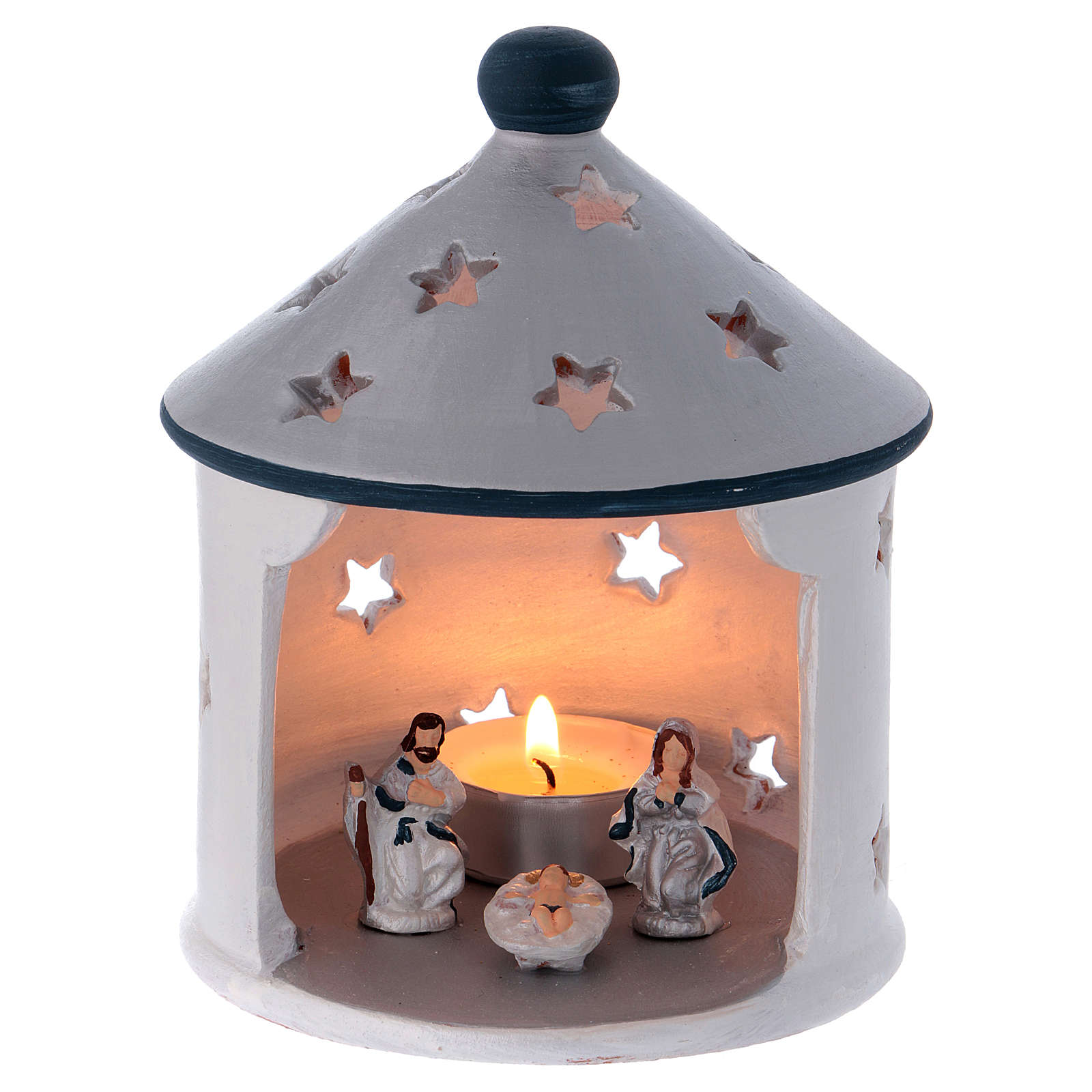 Silver hut-shaped candle holder with Holy Family in Deruta terracotta 4