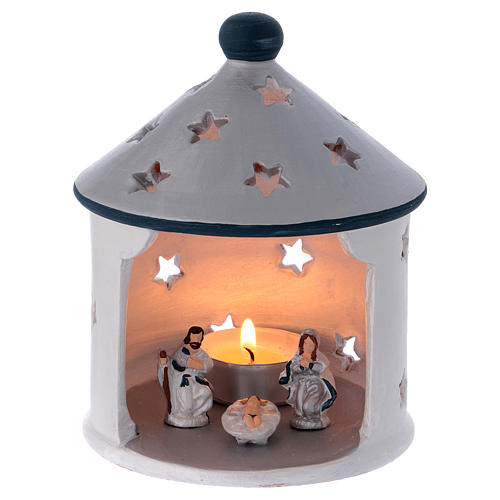 Silver hut-shaped candle holder with Holy Family in Deruta terracotta 1