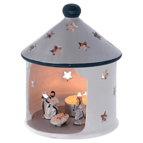 Silver hut-shaped candle holder with Holy Family in Deruta terracotta 2