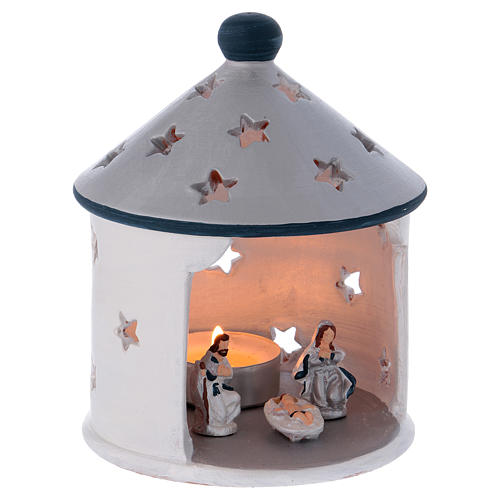 Silver hut-shaped candle holder with Holy Family in Deruta terracotta 3