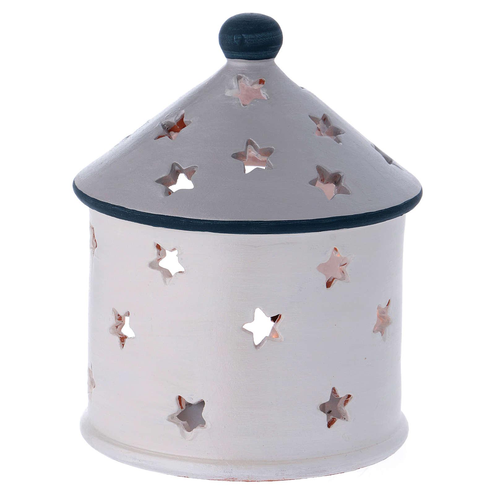 Portalumino capanna color argento con Natività in terracotta Deruta 4