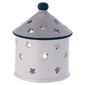 Portalumino capanna color argento con Natività in terracotta Deruta s4