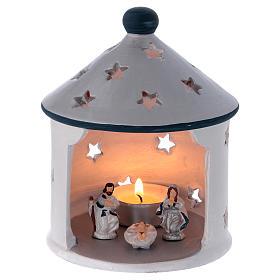Presépio Terracota Deruta: Porta vela cabana cor de prata com Natividade em terracota Deruta