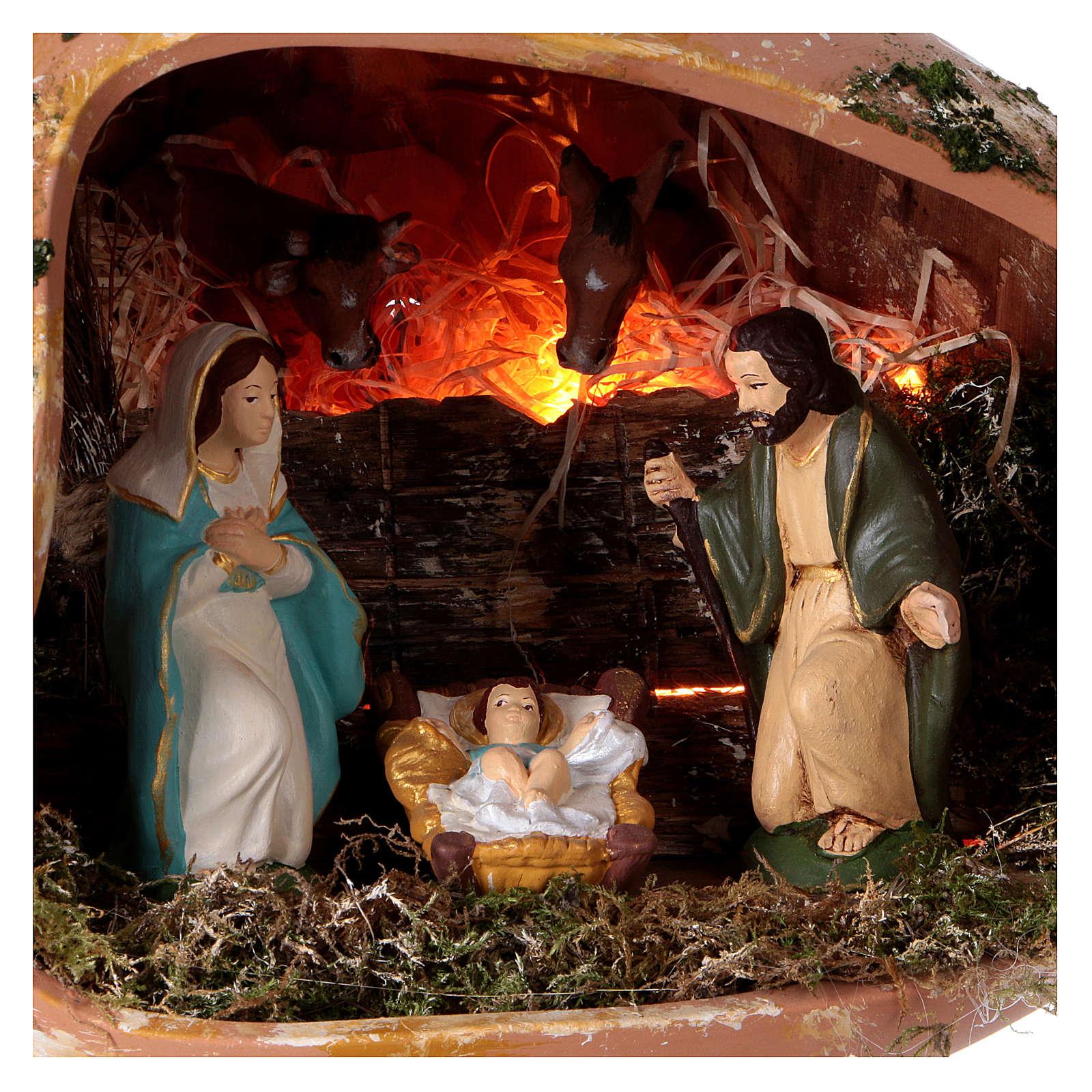 Ánfora tumbada con escena Natividad de terracota Deruta 4