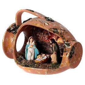 Ánfora tumbada con escena Natividad de terracota Deruta s3