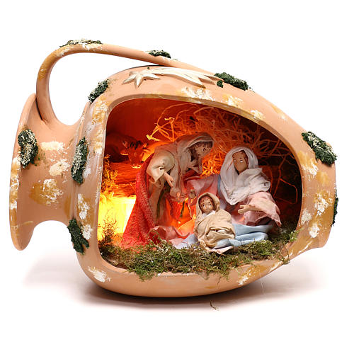 Ánfora tumbada con escena Natividad de terracota Deruta 1