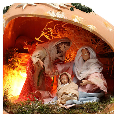 Ánfora tumbada con escena Natividad de terracota Deruta 2