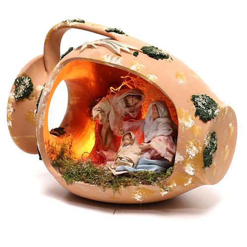 Ánfora tumbada con escena Natividad de terracota Deruta 3