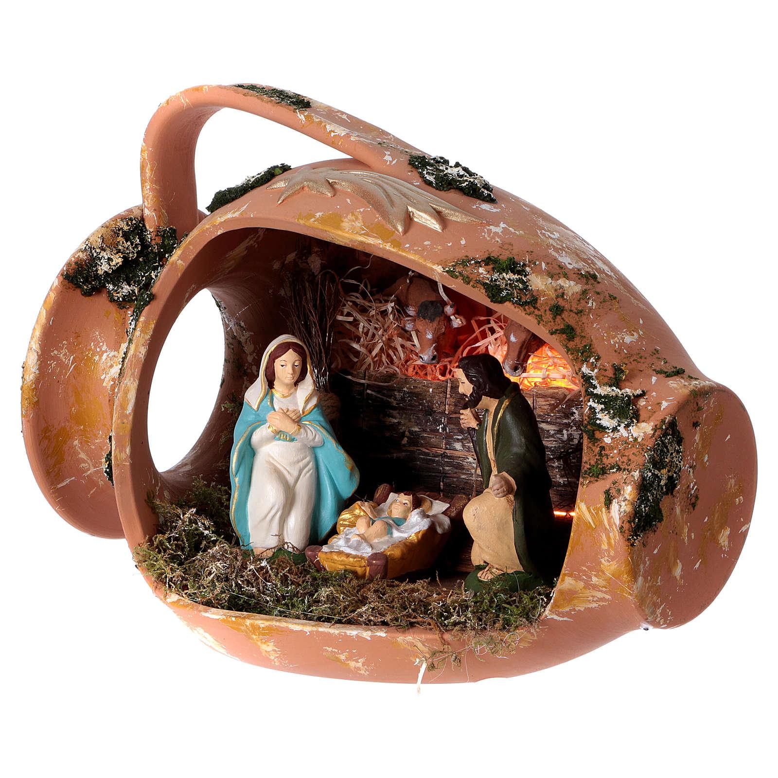 Jarre allongé avec scène Nativité en terre cuite Deruta 4
