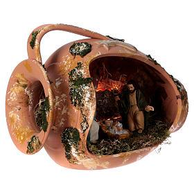 Jarre allongé avec scène Nativité en terre cuite Deruta s4