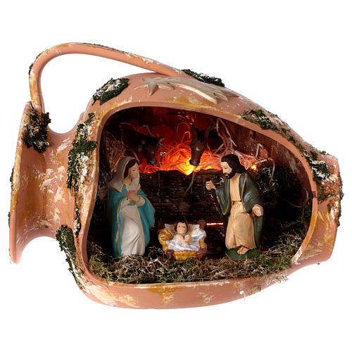 Jarre allongé avec scène Nativité en terre cuite Deruta 1