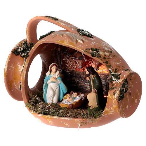 Jarre allongé avec scène Nativité en terre cuite Deruta 3