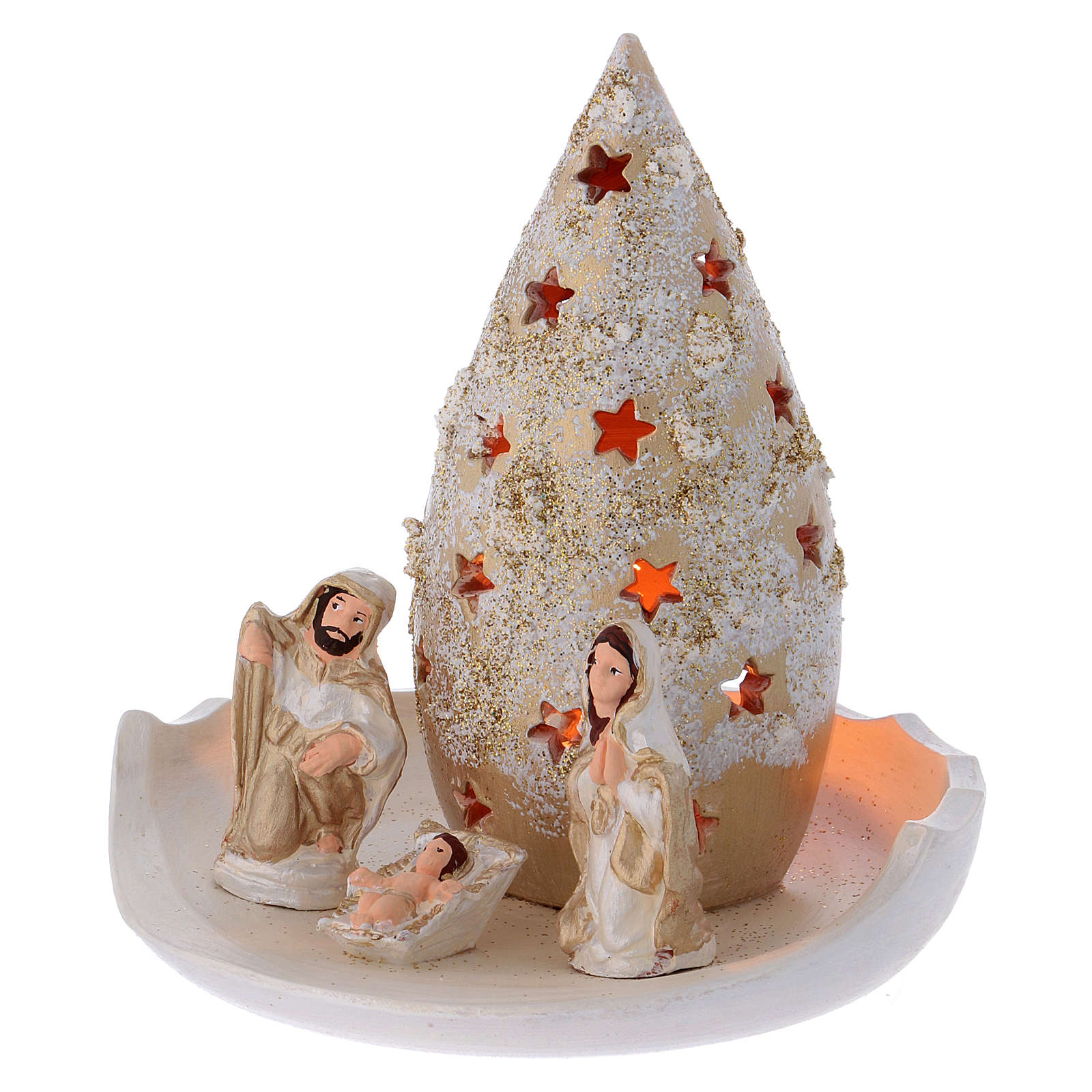 Plate with golden and ivory Christmas tree and Holy Family in Deruta terracotta 4