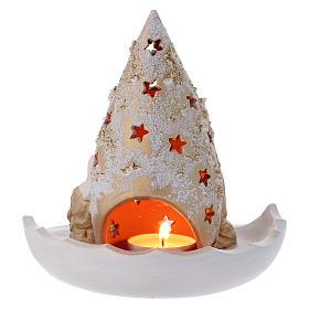 Piattino con Albero di Natale e Natività oro e avorio in terracotta Deruta s4