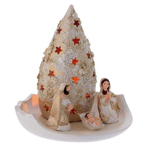 Piattino con Albero di Natale e Natività oro e avorio in terracotta Deruta 3