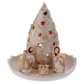 Presépio Terracota Deruta: Prato com árvore de Natal e Natividade ouro e cor-de-marfim em terracota Deruta