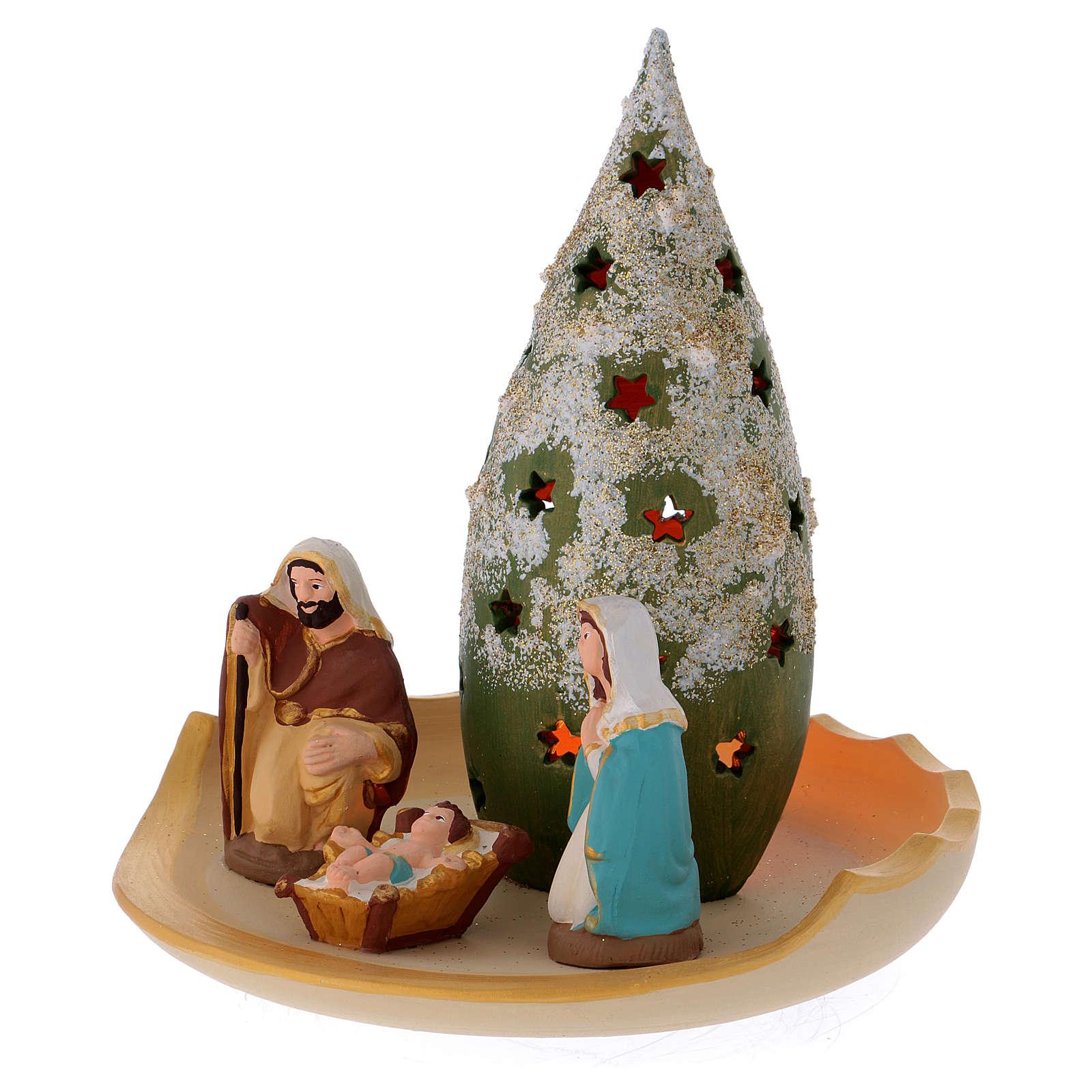 Composizione Sacra Famiglia e Albero di Natale innevato in terracotta Deruta 4