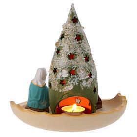 Composizione Sacra Famiglia e Albero di Natale innevato in terracotta Deruta s4