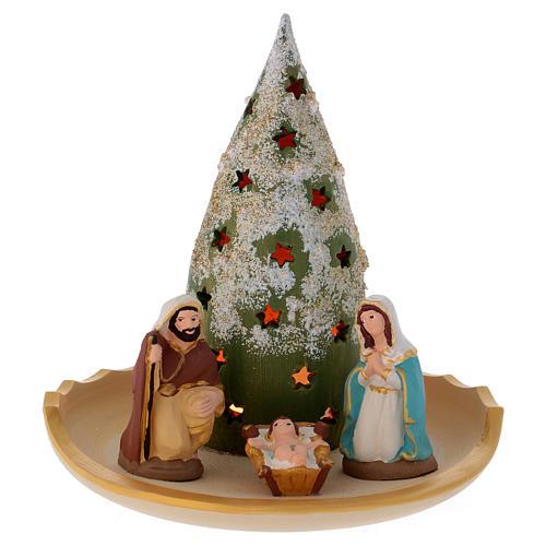 Composizione Sacra Famiglia e Albero di Natale innevato in terracotta Deruta 1