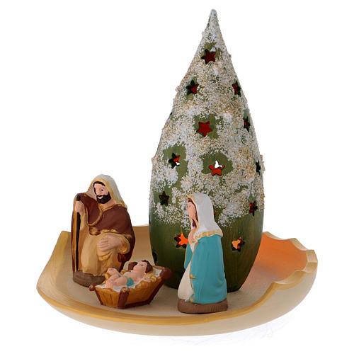 Composizione Sacra Famiglia e Albero di Natale innevato in terracotta Deruta 3