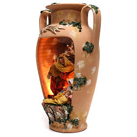Urn with Holy Family 20 cm ox and donkey in Deruta terracotta s3