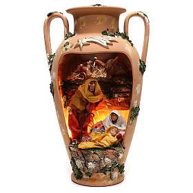 Belén terracota Deruta: Ánfora Sagrada Familia buey y asno 20 cm terracota Deruta