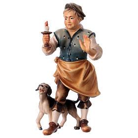 Belén Val Gardena: Cantinero con perro belén Original madera pintada en Val Gardena 12 cm de altura media