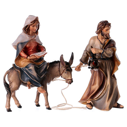 Andata a Betlemme presepe Original legno dipinto in Valgardena 10 cm 1