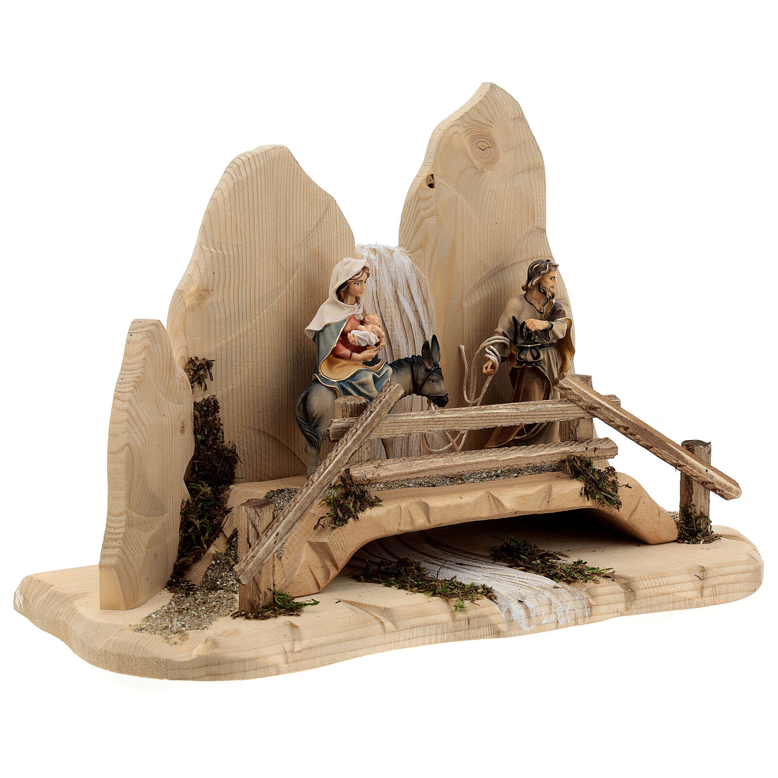 Fuga in Egitto con ponte presepe Original legno dipinto in Val Gardena 10 cm 4