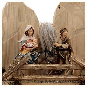 Fuga in Egitto con ponte presepe Original legno dipinto in Val Gardena 10 cm s2