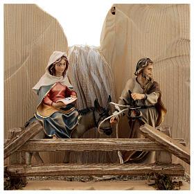 Fuga in Egitto con ponte presepe Original legno dipinto in Val Gardena 10 cm s4