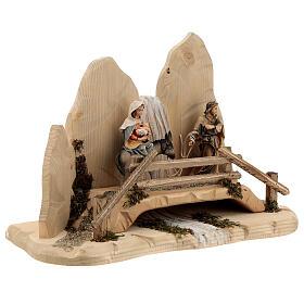 Fuga in Egitto con ponte presepe Original legno dipinto in Val Gardena 10 cm s5