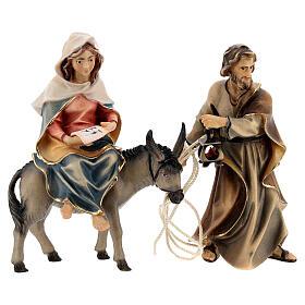 Fuga in Egitto con ponte presepe Original legno dipinto in Val Gardena 10 cm s8