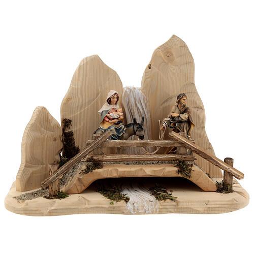 Fuga in Egitto con ponte presepe Original legno dipinto in Val Gardena 10 cm 1