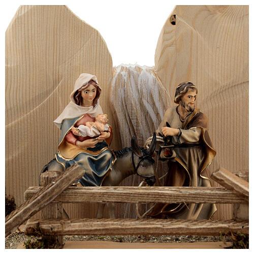 Fuga in Egitto con ponte presepe Original legno dipinto in Val Gardena 10 cm 2