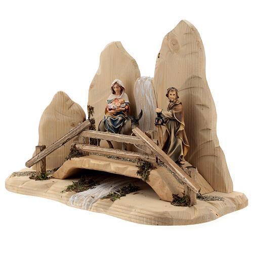 Fuga in Egitto con ponte presepe Original legno dipinto in Val Gardena 10 cm 3
