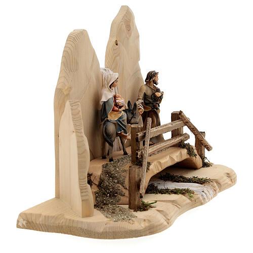 Fuga in Egitto con ponte presepe Original legno dipinto in Val Gardena 10 cm 7