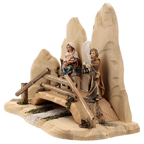 Fuga in Egitto con ponte presepe Original legno dipinto in Val Gardena 10 cm 9