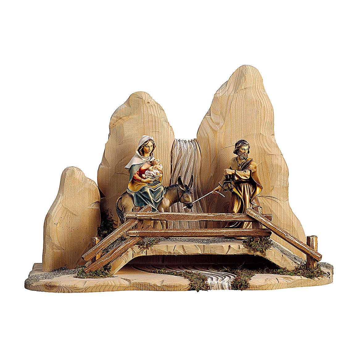 Fuga in Egitto con ponte presepe Original legno dipinto in Valgardena 12 cm 4