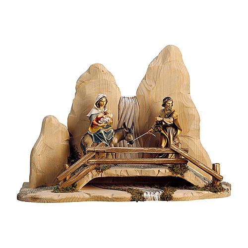Fuga in Egitto con ponte presepe Original legno dipinto in Valgardena 12 cm 1