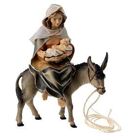 Belén Val Gardena: María sobre su burro con Niño Jesús y pergamino belén Original madera pintada Val Gardena 10 cm de altura media