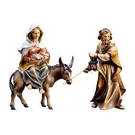 Crèche Noël Val Gardena: Fuite en Égypte crèche Original bois peint Val Gardena 10 cm