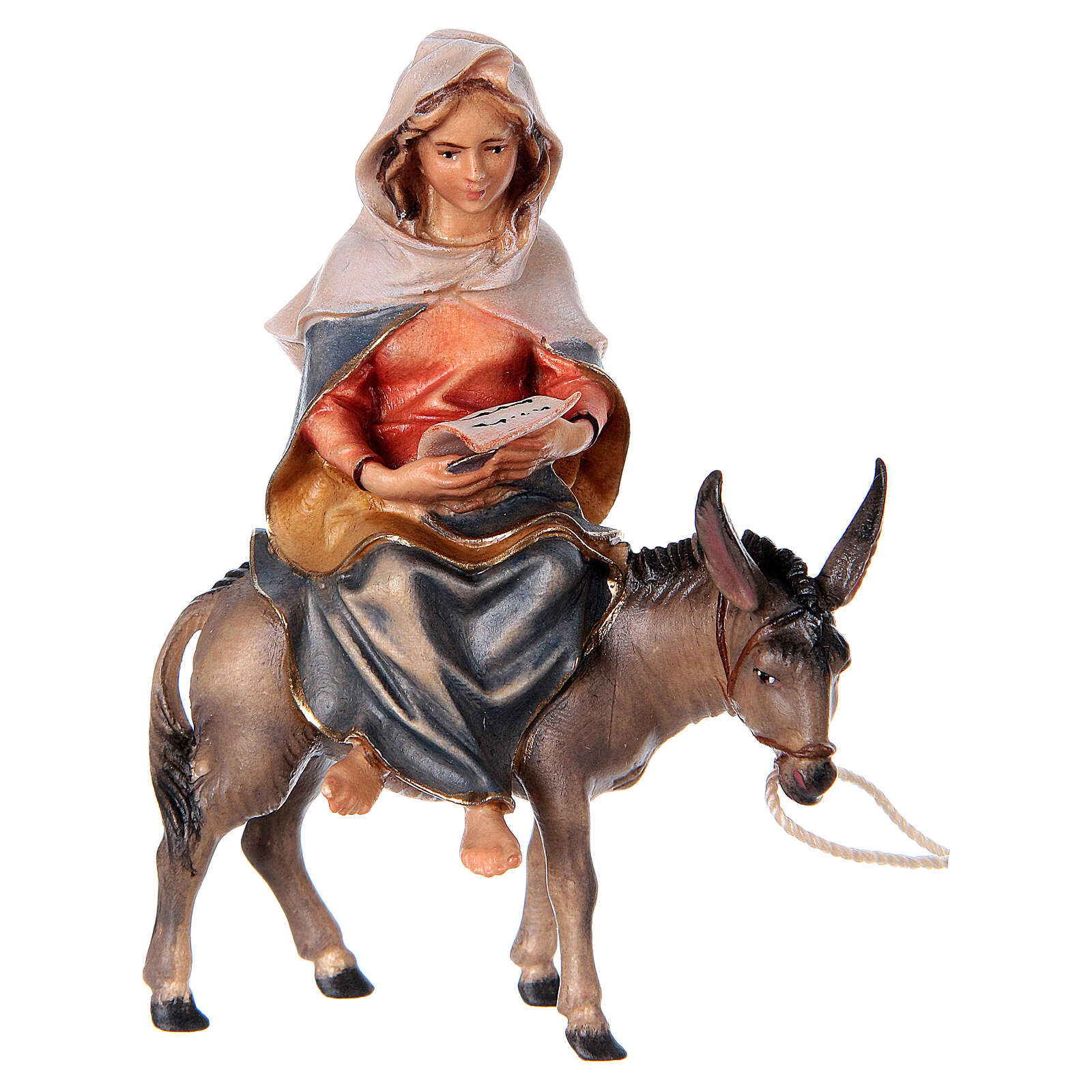 Fuga in Egitto presepe Original legno dipinto in Valgardena 10 cm 4