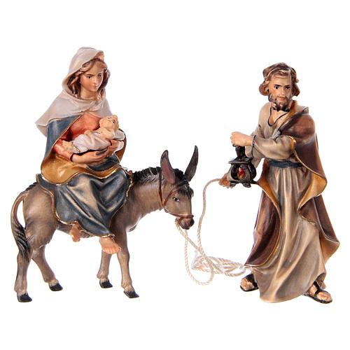 Fuga in Egitto presepe Original legno dipinto in Valgardena 10 cm 2