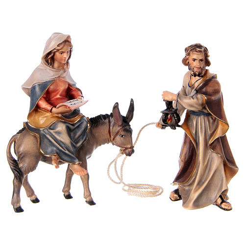 Fuga in Egitto presepe Original legno dipinto in Valgardena 10 cm 3