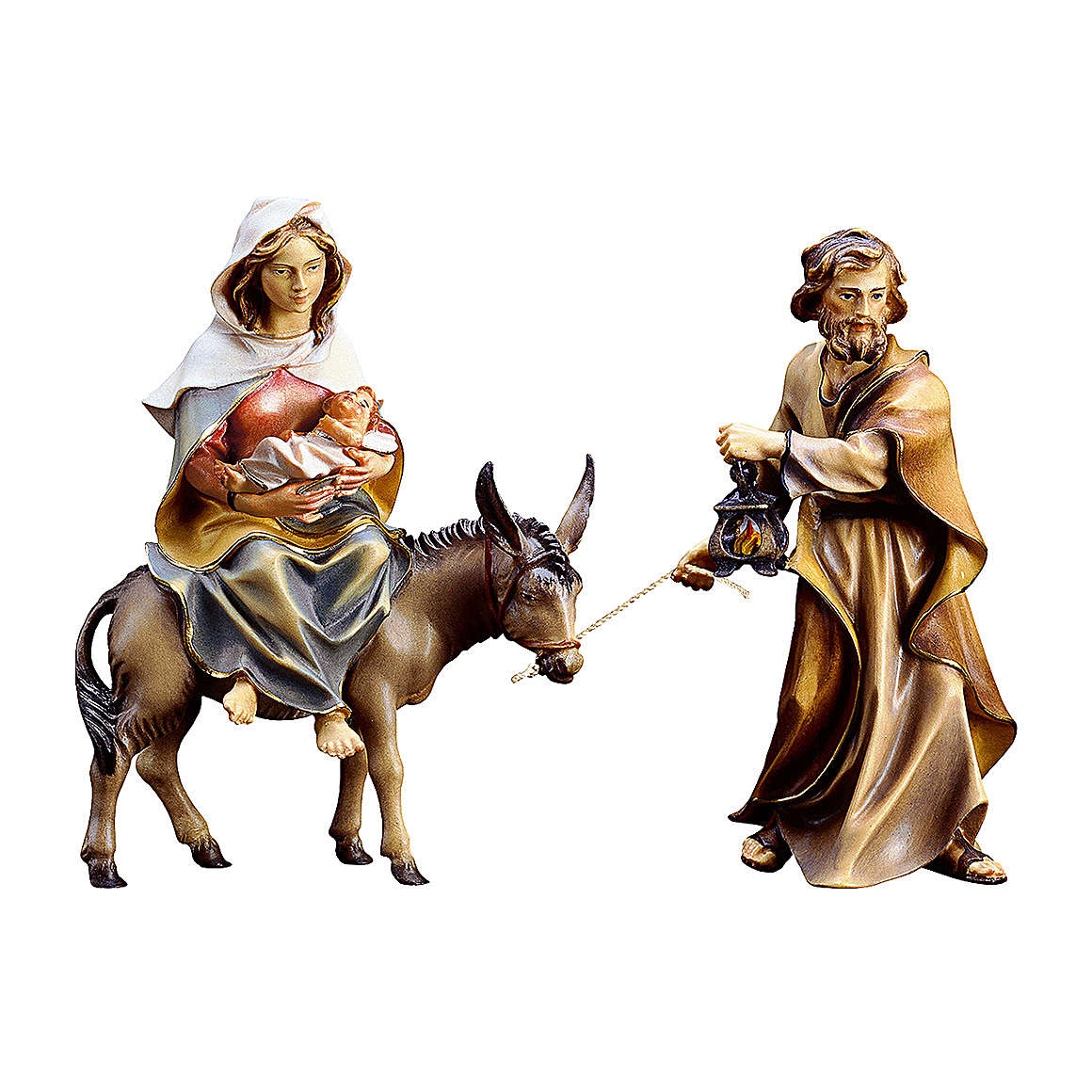 Fuga in Egitto del presepe Original legno dipinto in Valgardena 12 cm 4