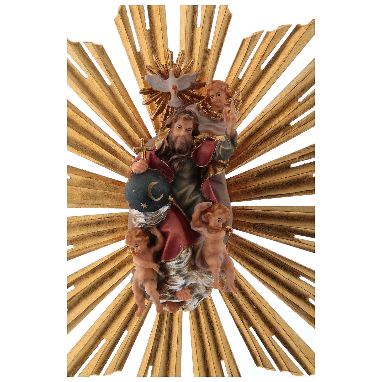 Imagen Dios Padre y Espíritu Santo en gloria con rayos belén Original madera pintada en Val Gardena 12 cm de altura media 4