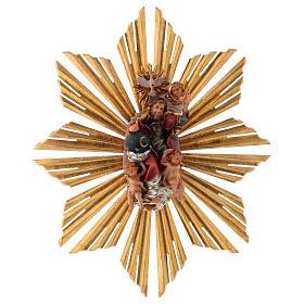 Imagen Dios Padre y Espíritu Santo en gloria con rayos belén Original madera pintada en Val Gardena 12 cm de altura media s1