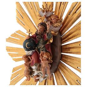 Imagen Dios Padre y Espíritu Santo en gloria con rayos belén Original madera pintada en Val Gardena 12 cm de altura media s2