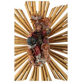 Imagen Dios Padre y Espíritu Santo en gloria con rayos belén Original madera pintada en Val Gardena 12 cm de altura media s6